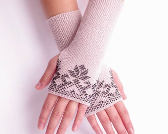Soft and cozy woolen beaded fingerless gloves/wrist warmers in antique rose color