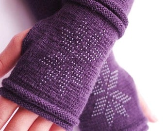 Very soft and cozy wool blend beaded fingerless gloves, wrist warmers, arm warmers, fingerless mittens in dark purple - READY ship
