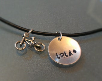 """Handstamped Leather Bicycle """"iRide"""" necklace with Sterling BMX Bike Charm - UNRIDE04"""