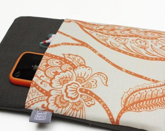 50 PERCENT OFF SALE: iPad Case, iPad Cover, iPad Sleeve for iPad 3, iPad 2 and iPad 1 in Orange and Gray Linen