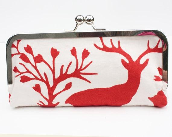 Winter Clutch Purse, Christmas Clutch Bag, Antlers Clutch, Reindeer Clutch