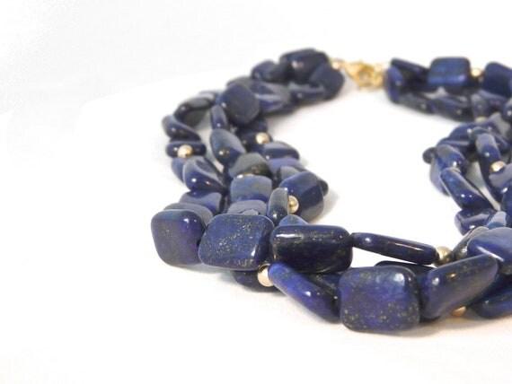 MIDNIGHT. blue lapis lazuli necklace with matte gold. three strand. statement.extender chain. monaco blue