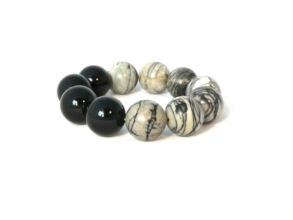 onyx and picasso jasper chunky stretch bracelet. gorgeous stones. colorblock. gray. black. lines. urban.