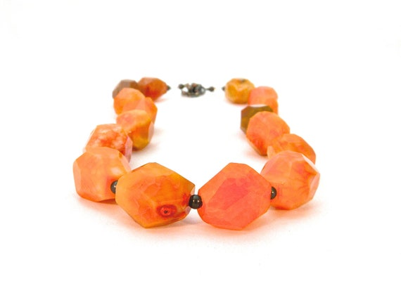 TANGO. orange agate necklace, chunky and organic with gunmetal grey extender chain