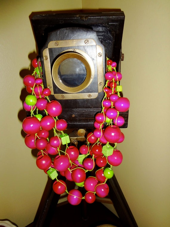 Handmade Two colors statement  necklace ( pink , green, yellow, cream, turquoose)