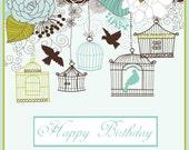 Happy Birthday Card - Birdcage
