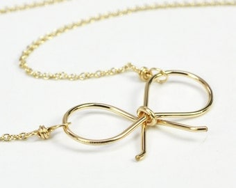 14K Yellow Gold Fill Bow Necklace, Simple Sweet Everyday Free US Shipping, Kristin Noel Designs