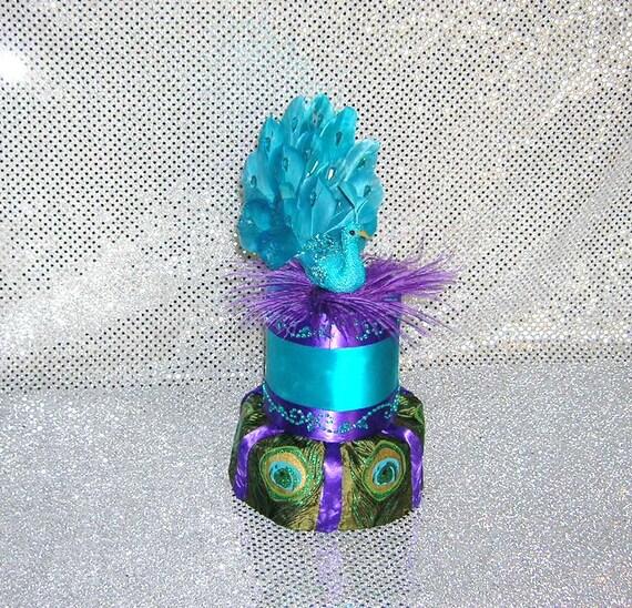 Peacock Feather Wedding Cake: Peacock Wedding Cake Topper Teal Blue Peacock Atop A Base