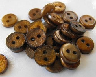 "25 Bronze Bumpy Shiny Round Buttons Size 7/16"""