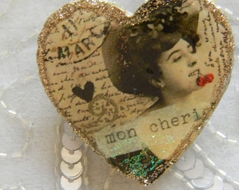 French Mon Cheri Decoupage Brooch