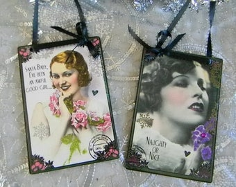 Set of Two Girly Christmas Decorative Plaques