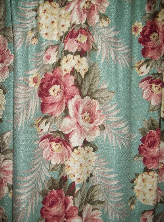Vintage Barkcloth Pair Curtains Aqua Pink Roses Panels Drapes