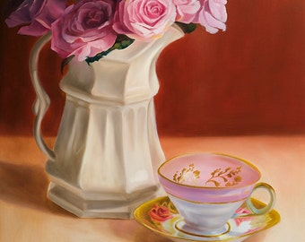 Painting Reproduction-Pink Rose -Gift of the Rose Collection- Open Edition-Sweetness- 8x10