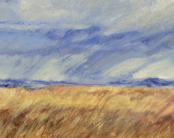 Wind and clouds over late summer Montana prairie is subject of this oil painting