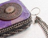 Steam Punk Altered Tin Credit Card Case,Purple Made To Order