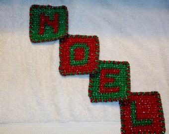Noel Christmas Crochet Coasters
