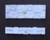 Garter Set Rhinestone Crystal Pearl Ribbon Lace Toss Keepsake Garter White GR071LX
