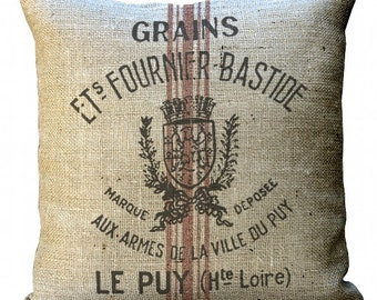 Burlap Reproduction Grain Sack  in Choice of 14x14 16x16 18x18 20x20 22x22 24x24 26x26 inch Pillow Cover