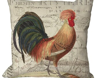 Rooster on French Invoice in Choice of 14x14 16x16 18x18 20x20 22x22 24x24 26x26 inch Pillow Cover
