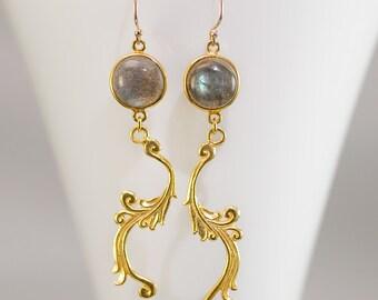 Labradorite Earrings - Gold Swirl Earrings - Bezel Earrings - Gemstone Earrings