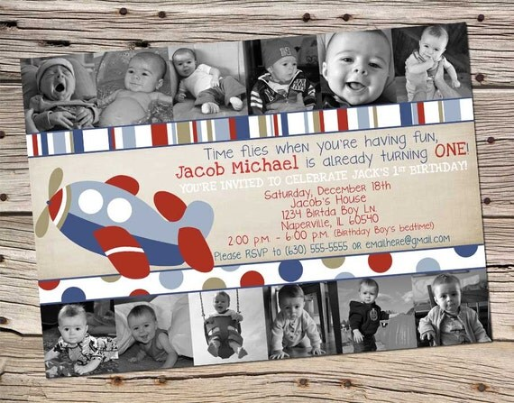 Boys 1st Year Airplane Birthday Theme Digital Inviation with 12 Photo Collage