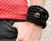 Fabric bracelet in black, rope bracelet, jersey wrap bracelet with vintage shiny silver button