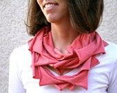 T-shirt infinity scarf in salmon pink, eco friendly- Gift for her