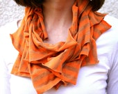 Upcycled infinity scarf in orange and brown stripes, tshirt scarf, office fashion