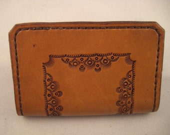 Leather Wallet or Business Card Holder, Hand tooled vintage style pattern