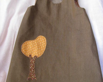 Brown Denim Jumper with Fall Tree Size 2T