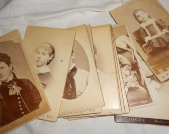 """Sepia Family Photos Family Ties CabinetType Victorian Portraits - One Dozen Various Photographs-Listing Includes All 12 """"Instant Relatives"""""""