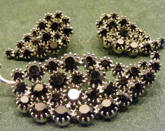 Black Rhinestone Leaf Brooch and Matching Clip On Earring Set