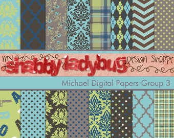"Michael Digital Paper Collection Group 3: 16 Individual 12x12"" 300 dpi digital scrapbook papers"