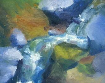 Stream - original 9x12 landscape oil painting by Keiko Richter