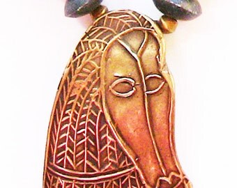 COPPRclay African mask, mat onyx necklace