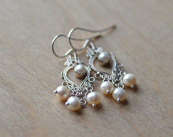 Pearl Earrings Filigree Sterling Silver Fresh Water Pearls Weddings Brides Bridesmaids Graduation Prom Special Occasions Maid of Honor