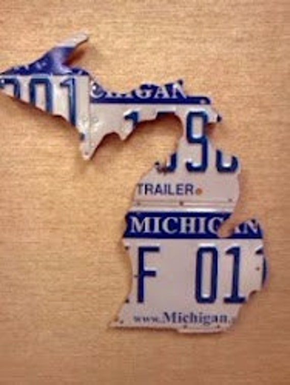 State of Michigan Small Recycled License Plate Map