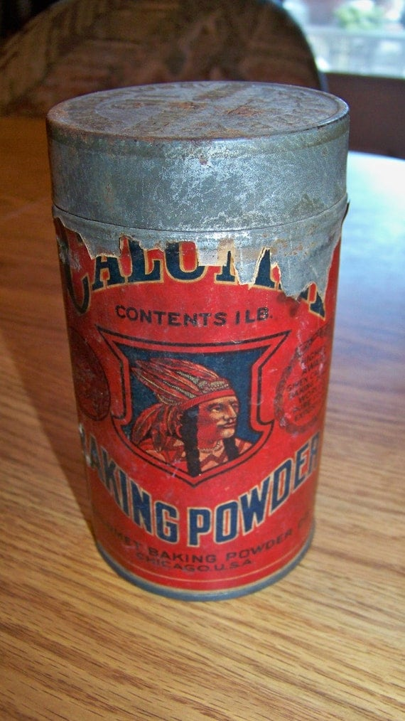 Vintage Tin Can Calumet Baking Powder 1 Lb Red Label By