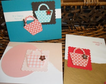 3 Purse designed cards with envelopes