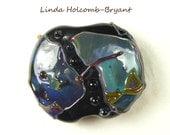 Black Base Lampwork Glass Double Helix Focal Bead