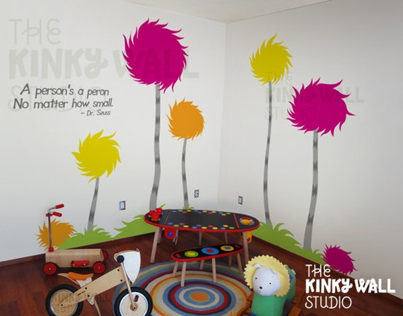 Items similar to children wall decals wall sticker lorax for Dr seuss wall mural decals