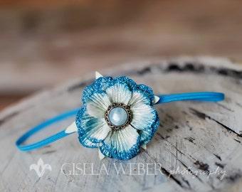 Blue Baby Headband, Small Newborn Headband, Glitter Flower Headband, Tiny Baby Headband, Turquoise Baby Headband, Baby Prop