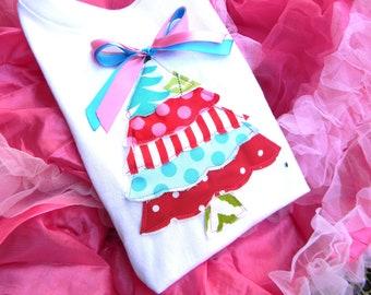 Christmas Tree tShirt - Personalized Christmas Tree Applique Shirt-Christmas Tree Tee Shirt