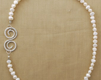 """Sterling Silver Spitzer """"S"""" Necklace with Pearls"""