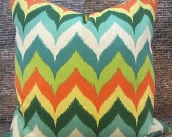 SALE Designer Pillow Cover -  12 x 18, 16 x 16, 18 x 18, 20 x 20, 22 x 22, 24 x 24 - Outdoor Izzy Flamestitch -