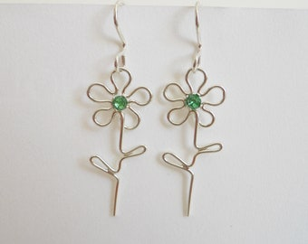 BLACK FRIDAY SALE - Flower Dangle Earrings Sterling Silver