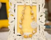 Yellow & Gray Lace Necklace Beaded Rosette