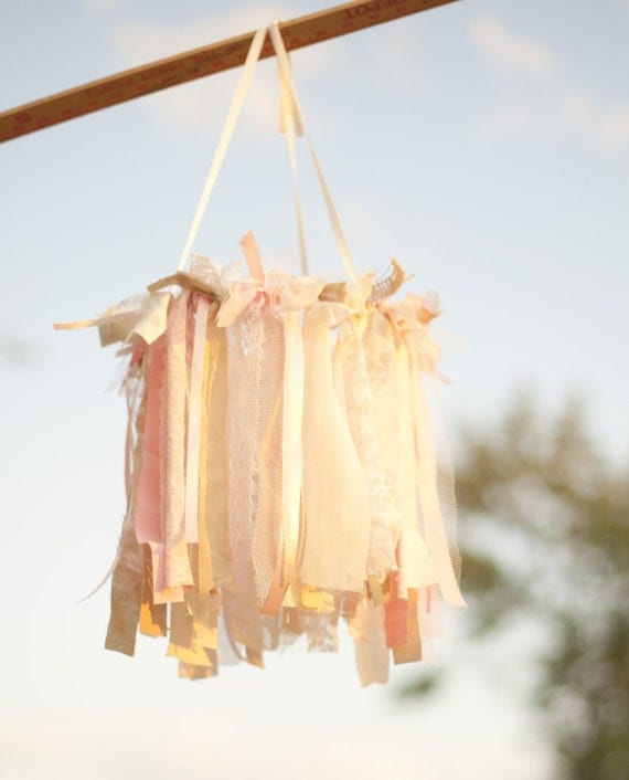 Pink & Ivory Chandelier, Baby Mobile, Photography Prop, Wedding Decor, Faux Chandielier