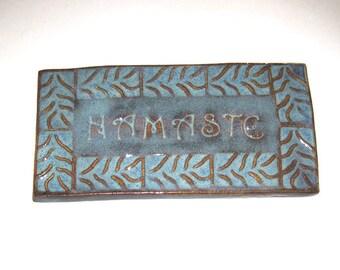 Ceramic Namaste Tile Textured Blue with Brown