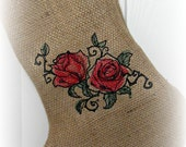 Vintage/ red/ Roses/  embroidered/ Burlap/ Christmas Stocking/ ticking/ pink and cream